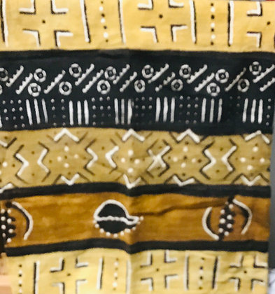 Hand Woven Mud Cloth (27) brown, gold, black, white, lines, crosses