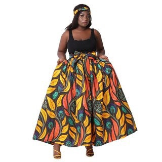 African Print Maxi, autumn leaves