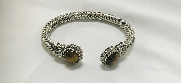 Cuff bracelet with tiger-eye end beads