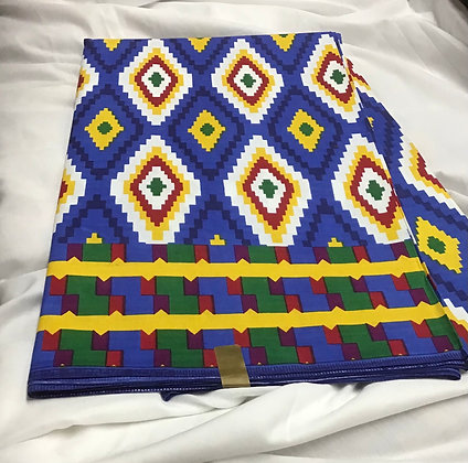 African Print Fabric, red, blue, yellow, green