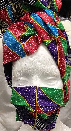 Rainbow African Print  Head Wrap and Mask
