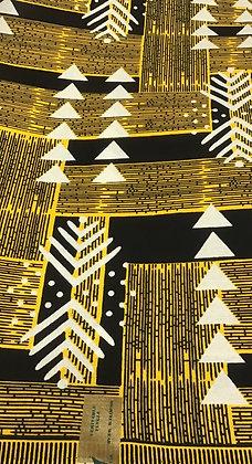 African Print Fabric, yellow, blavk, white, triangles