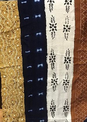 Hand Woven Mud Cloth (13) indigo tie-dye, white, black, gold, rust