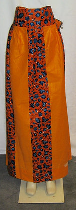 Long Orange African Print Skirt