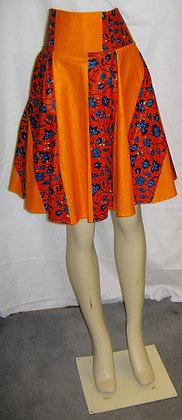 Short Orange African Print Skirt