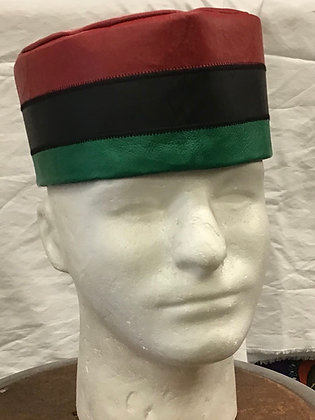 Leather Kufi - Red, Black and Green