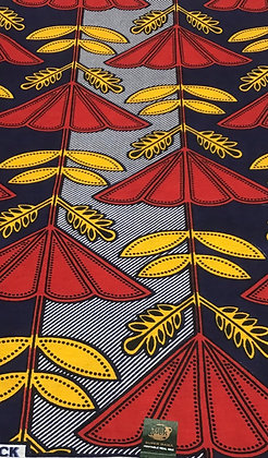 African Wax Print Fabric,  yellow, red, black, flowers