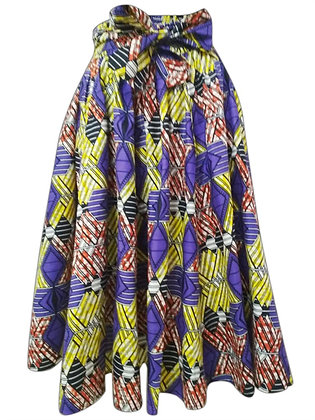 ]African Print Mid Length Skirt