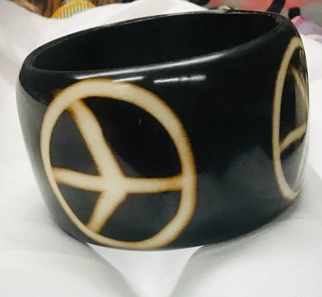 Wood Bracelet with peace sign - extra large