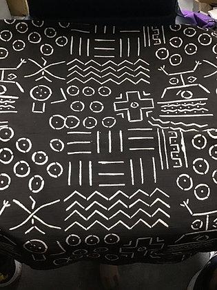 African Mud Cloth PRINT Fabric - #65, dark brown/black