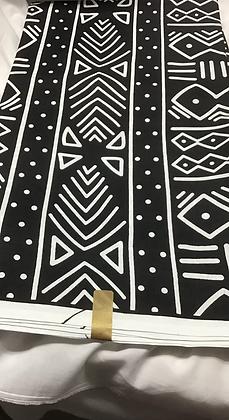 African Print Fabric, black, white