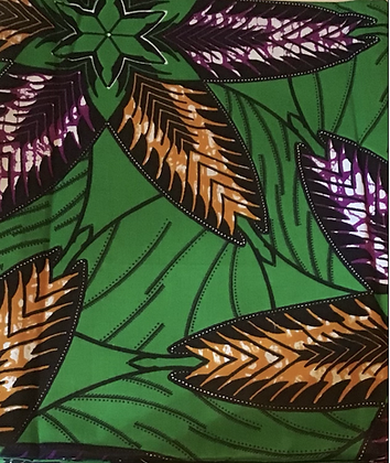 African fabric print, flowers, leaves, orange, green, purple