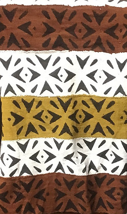 Hand Woven Mud Cloth (43) white, brown, black - vertical pattern