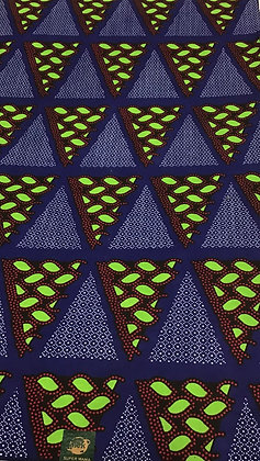African Wax Print Fabric, blue, brown , green, triangles