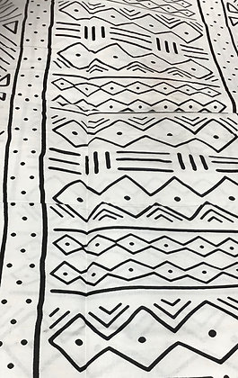 African Print Fabric, black and white, mud cloth pattern