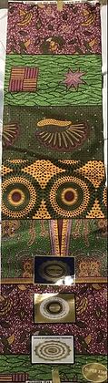 African Print Fabric, gold, green, burgundy