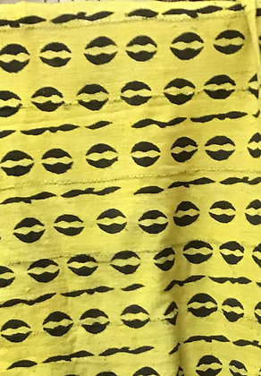 Hand Woven Mud Cloth (55) yellow, cowrie shell