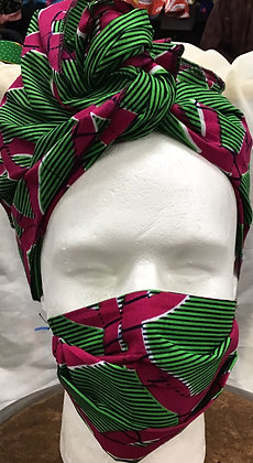 African Print Cotton Head Wrap and Mask - Pink and Green