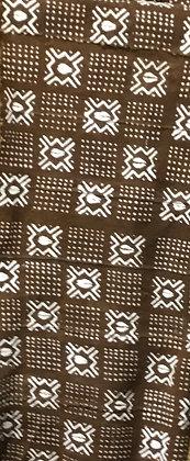 Hand Woven Mud Cloth (16) brown, white, diamonds, crosses