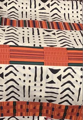 African Print Fabric, white, black, orange, red, green, kente