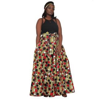 African Print Maxi Skirt, red, white and black circles