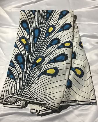 African Print Fabric, white, blue, yellow, peacock