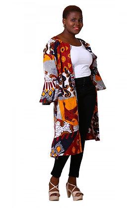 African Print Kimono Ruffled Sleeves w/scarf