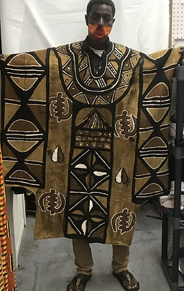 Mud Cloth Poncho Front and Back