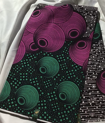 African Wax Print Fabric, purple, green, circles, wholesale available