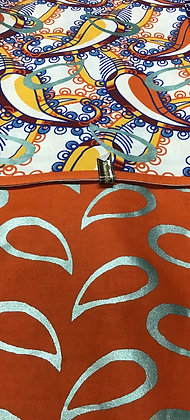 Woodin Print Fabric, orange, silver, yellow, blue