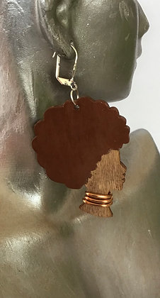 Copper Afro Hair Black Woman Wood Earrings