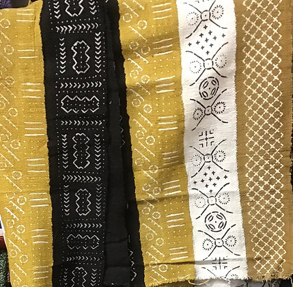Hand Woven Mud Cloth (50) white, gold- gold border
