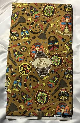 African Retro Style Bogolan Print Fabric, gold, orange, lime, yellow, red