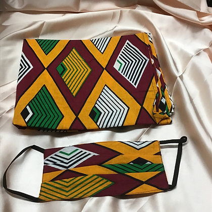 African Print Head Wrap and Mask