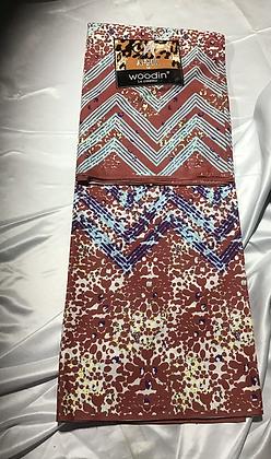 Woodin Afrik Fabric, burgundy, light blue, dark blue