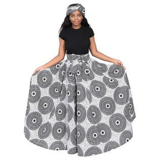African Black and White Circle Fabric Print Maxi