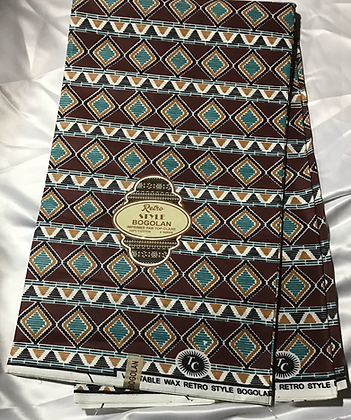 African Retro Style Bogolan Print, teal, gold, burgundy, diamonds, abstract
