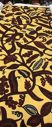 African Wax Print Fabric, yellow, burgundy, black, white