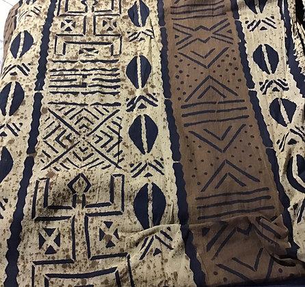 African Mud Cloth PRINT Fabric - #105 - beige/brown, cowrie