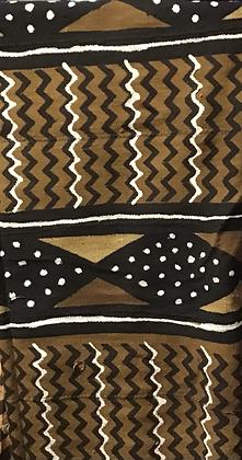 Hand Woven Mud Cloth (7) , white, brown, black zig zags, black diamond shapes