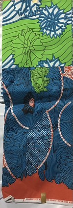 African Print Fabric, blue, green, red, flowers