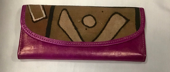 Cowhide Leather Wallet with Mud Cloth inset - purple