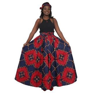 African Print Maci, purple and red Black and