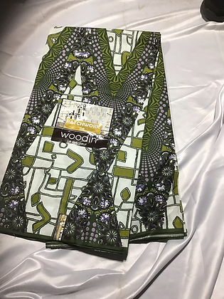 Woodin Patchwork Fabric, olive green, black, white