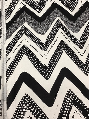 Woodin Print Fabric, black and white cheve