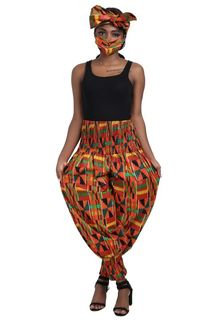 Kente High-rise cropped balloon-leg trousers, with head wrap and mask