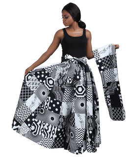 Patchwork Black and White African Print Mid Length Skirt, head wrap and