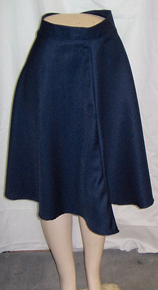 Navy Blue High-Waist A-Line Skirt
