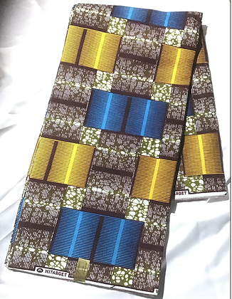 African Print Fabric, gold, blue, brown