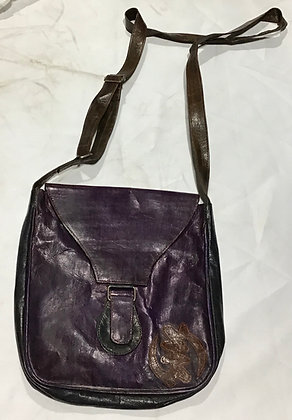 Leather Cross-over bag, purple and black